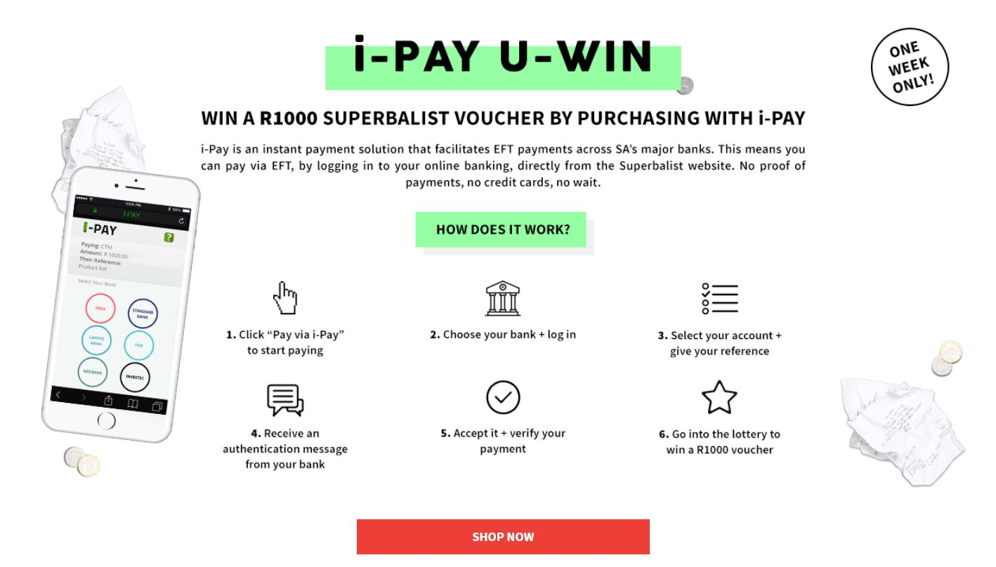 Become a winner with i-Pay and Superbalist | i-Pay U-Win
